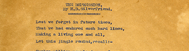 &ldquo;The Depression,&rdquo; a poem written by Henry Silverfriend