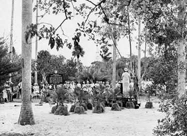 Koreshan Unity president Hedwig Michel speaking during dedication at the Koreshan State Historic Site park, 1963