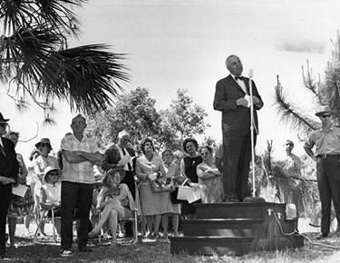 John D. Pennekamp speaking at the Koreshan State Park Dedication Ceremony, 1967