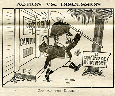 Pro-drainage political cartoon featuring Governor Napoleon Bonaparte Broward, The American Eagle, September 13, 1906