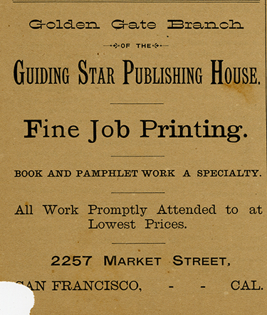 Advertisement for the Golden Gate Branch of the Guiding Star Publishing House, The Plowshare and Pruning Hook, May 1, 1891