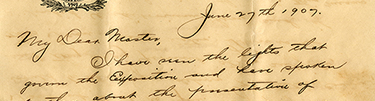 Letter from Henry D. Silverfriend to Cyrus Teed, June 27, 1907