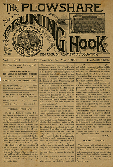 First issue of The Plowshare and Pruning Hook, May 1, 1891