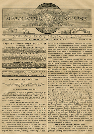 First issue of Salvator and Scientist, September 1895