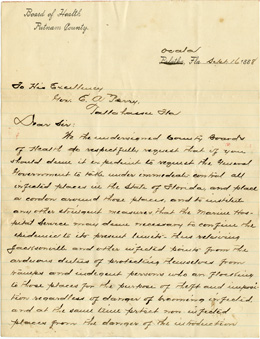 Letter from the Board of Health of Putnam County, September 16, 1888