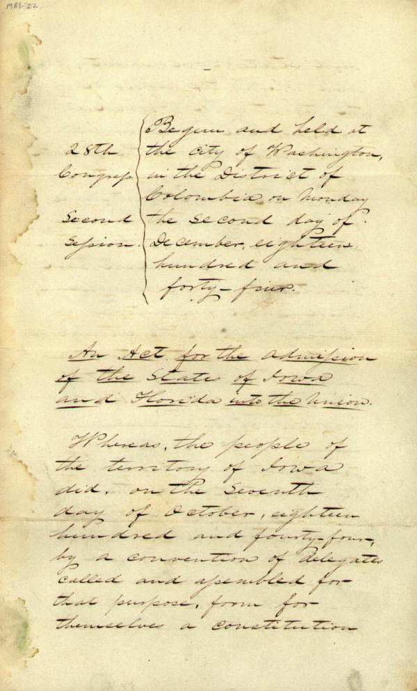 Act Establishing Florida Statehood, 1845