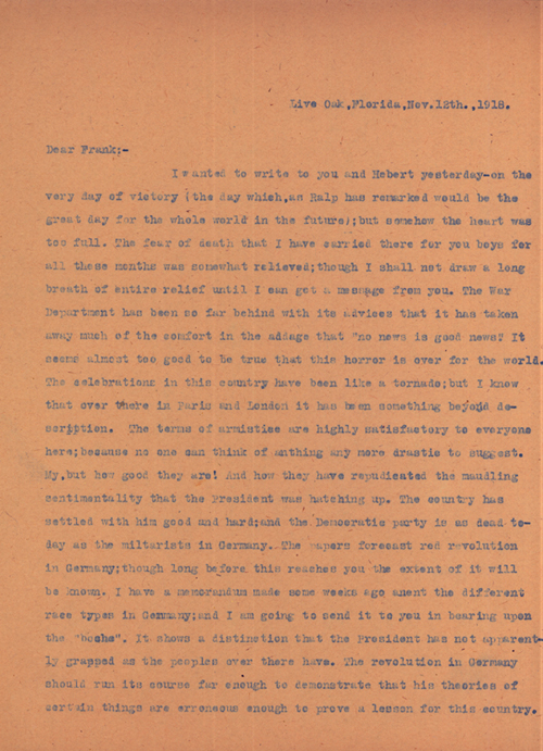 World War I Letter Describing Armistice Day