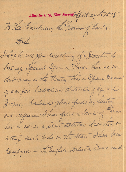 Letters Concerning Spanish Spies in Florida During the Spanish-American War, 1898