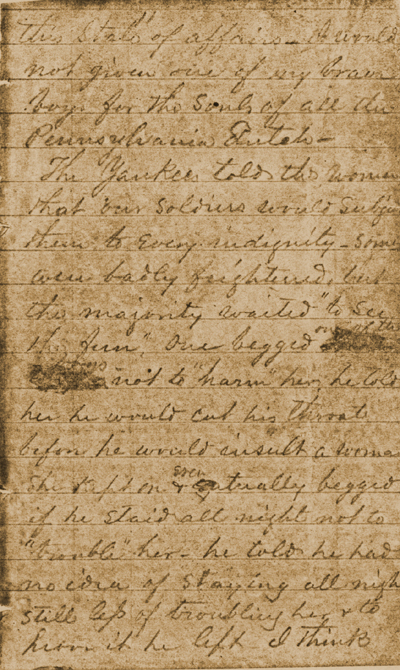 Letter Describing Florida Brigade's Retreat from Gettysburg, 1863