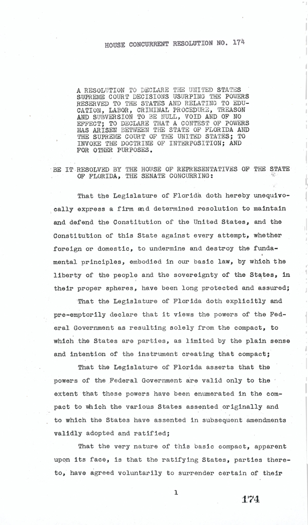 Page 1 of the Interposition Resolution, 1957