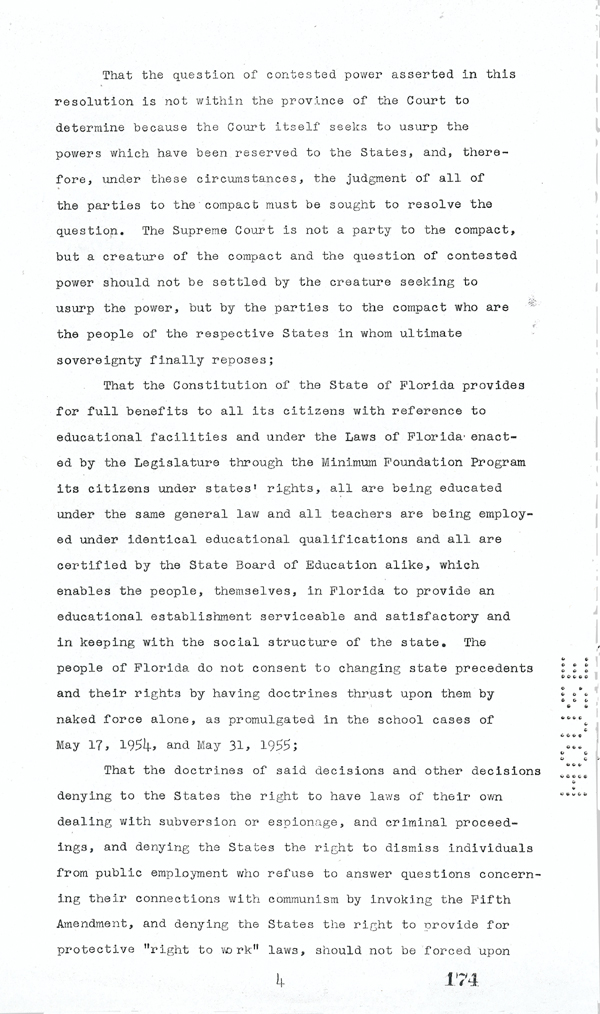 Page 4 of the Interposition Resolution in Response to Brown v. Board of Education, 1957
