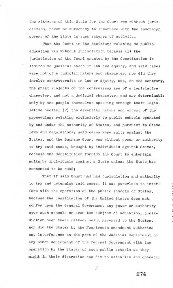 Page 5 of the Interposition Resolution in Response to Brown v. Board of Education, 1957