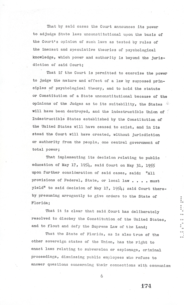 Page 6 of the Interposition Resolution in Response to Brown v. Board of Education, 1957