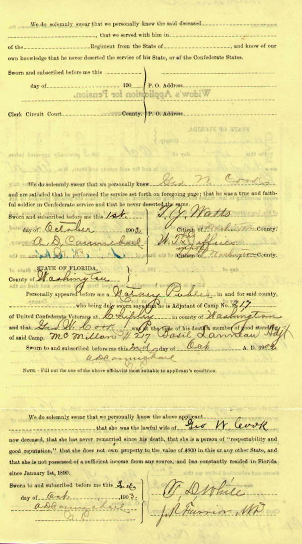 Confederate Pension Claim Applications, 1888-1909