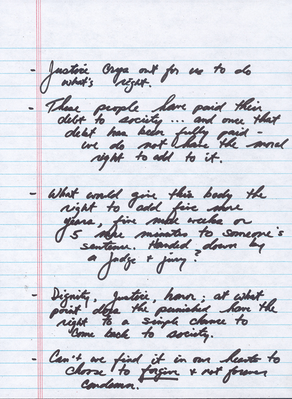 Page 1 of Governor Charlie Crist's Clemency Board Speech Notes on the Restoration of Felon Civil Rights, 2007