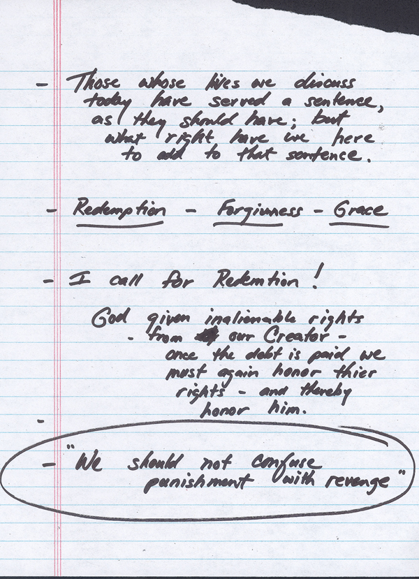 Page 2 of Governor Charlie Crist&#8217;s Clemency Board Speech Notes on the Restoration of Felon Civil Rights, 2007