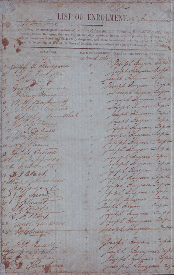 Muster Roll of Fernandina Volunteers, c. 1860-1861
