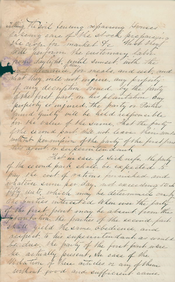 Jefferson County, Florida Freedmen's Contract, 1867