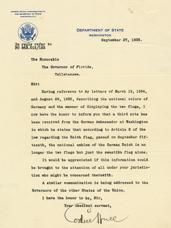 Letter from U.S. Secretary of State Cordell Hull to Governor David Sholtz