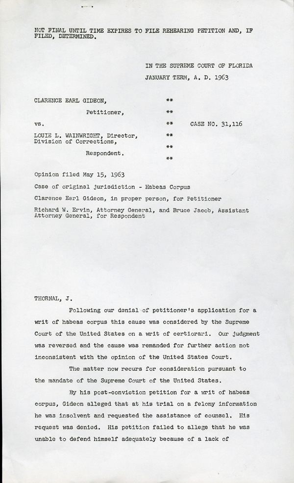 Gideon Petitioner v. Wainwright Respondent, Page 1