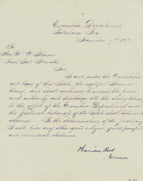 Letters Relating to the Efforts to Impeach Governor Harrison Reed During the Reconstruction Era