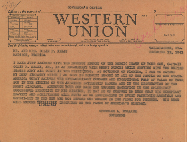 Sympathy Telegram from Governor Spessard Holland to parents of Captain Colin P. Kelly, 1941