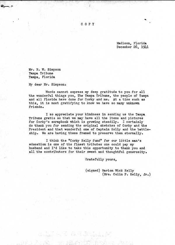 Letter of thanks from Marion Wick