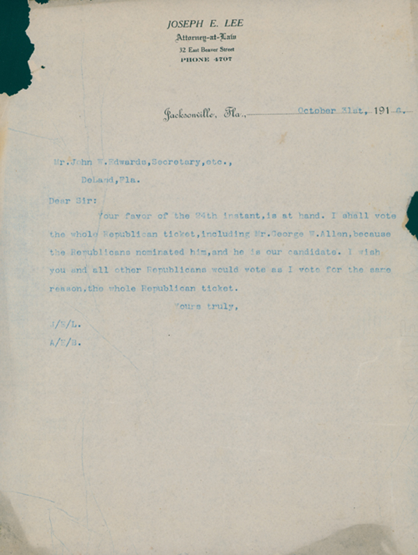 Letter to Joseph E. Lee Concerning the Florida Gubernatorial Election of 1916