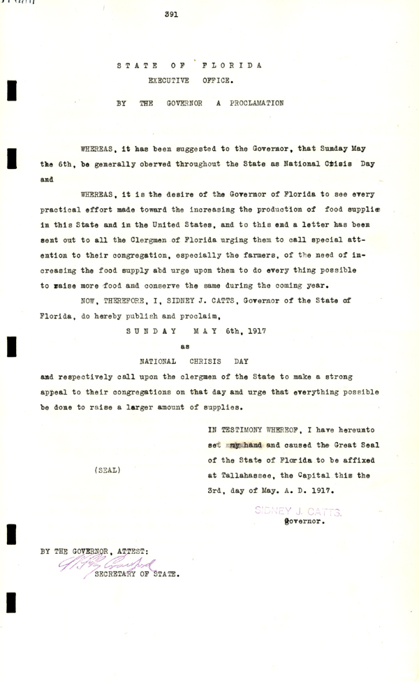 "World War I "" National Crisis Day""  Proclamation, 1917"