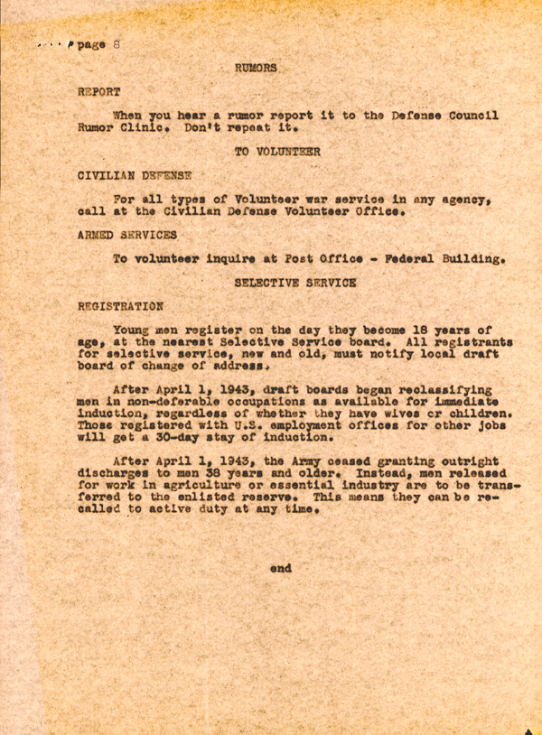 Office of War Information Document on Rationing