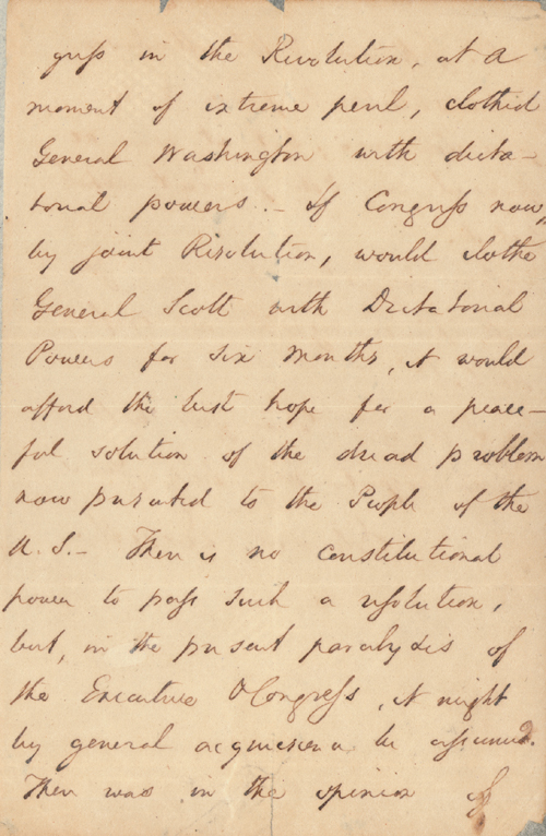 Civil War Letter to Governor Call, 1860