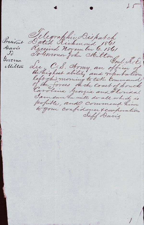 Notice of Robert E. Lee's Assignment to Command of Confederate Forces on the Coast of South Carolina, Georgia and Florida, 1861
