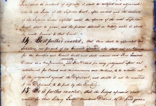 First Act of the Territorial Legislature, 1822