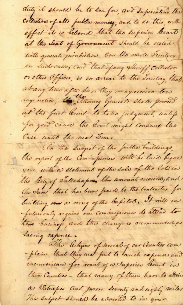 Territorial Governor DuVal's Message to Legislative Council, 1822