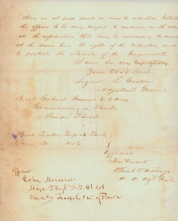 Letter Concerning the Outbreak of Hostilities in the Third Seminole War, 1856