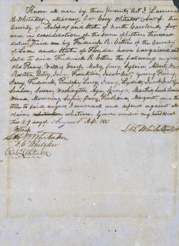 Contract for Sale of Slaves