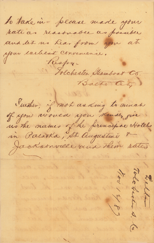 Steamboat Company Documents, 1887