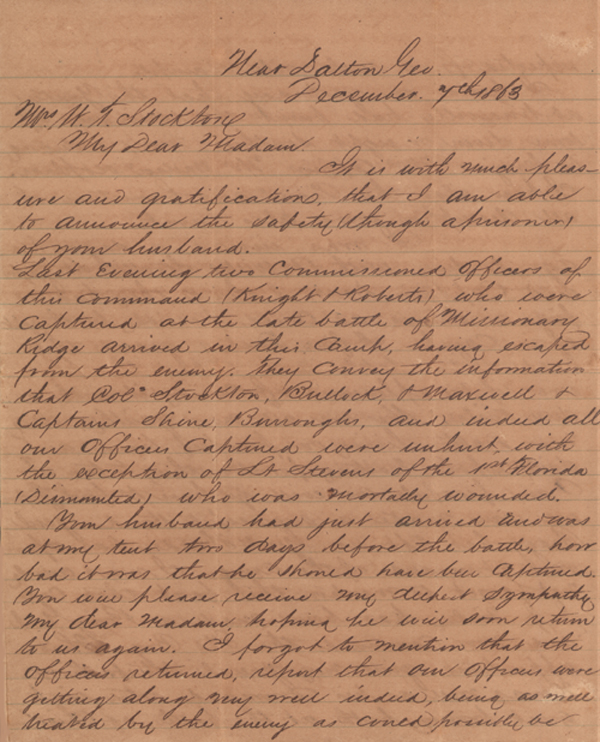 Letters Relating to the Civil War Service of William T. Stockton