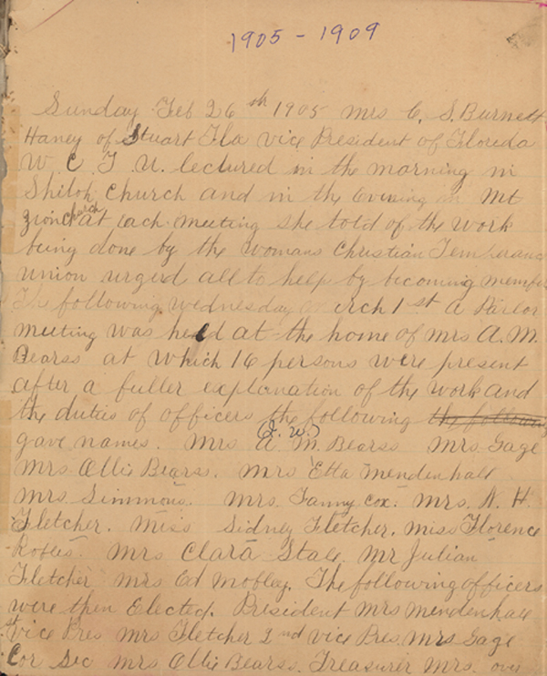 Minutes of Magdalene Union, Woman's Christian Temperance Union, 1905