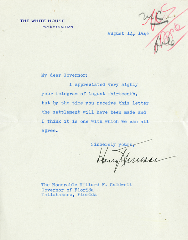 Truman's Note of Reply the Day Japan Agreed to Surrender (August 14, 1945)