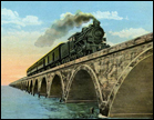 Florida East Coast Railway, Key West Extension, express train at sea, crossing famous Long Key Viaduct, Florida