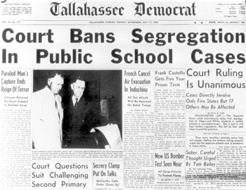 Tallahassee Democrat headline for segregation ban: Tallahassee, Florida (1954)