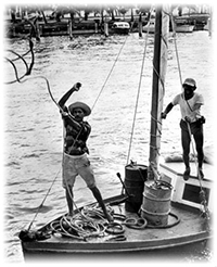Cuban refugees on board boat during the Mariel Boatlift - Key West, Florida