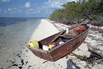 Cuban refugee boat beached on the south side of the Marquesas Keys