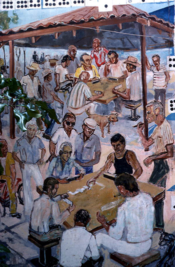 Painting of Cuban American men playing dominoes in Little Havana: Miami, Florida