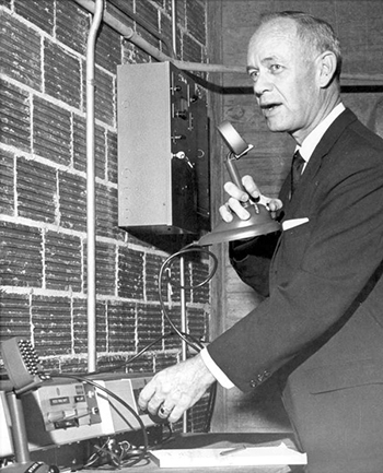 Governor Farris Bryant checking emergency radio: Tallahassee, Florida (1962)