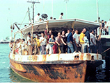 "The ""El Dorado"" arriving with Cuban refugees during the Mariel Boatlift: Key West, Florida"