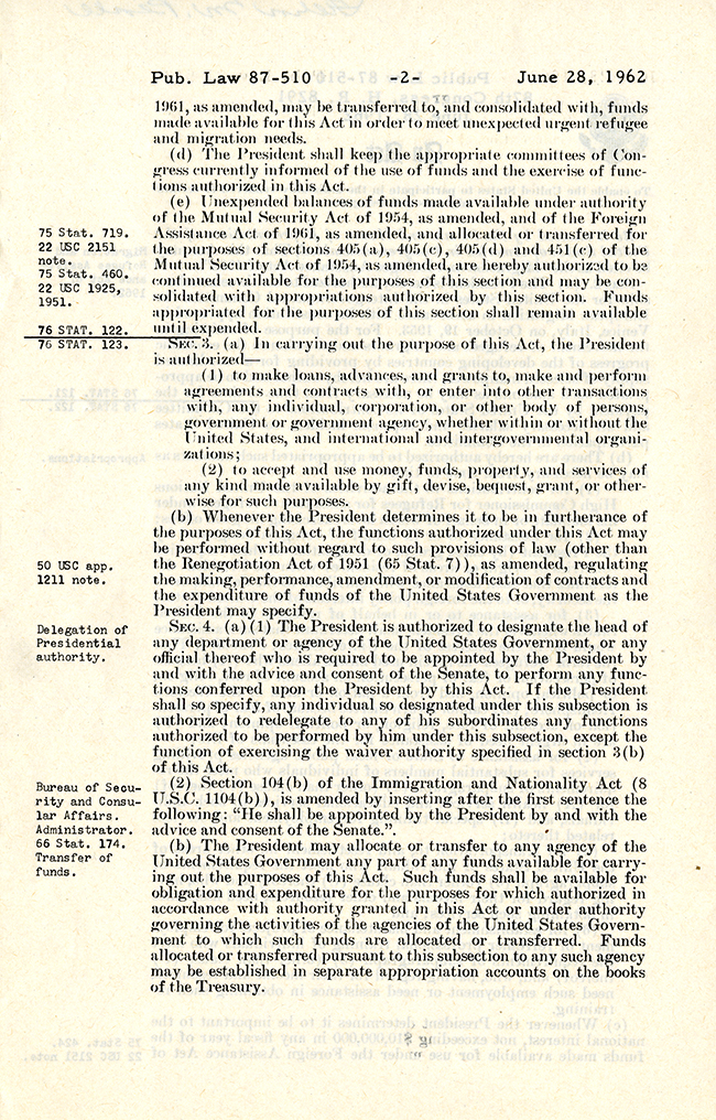 Migration and Refugee Assistance Act of 1962