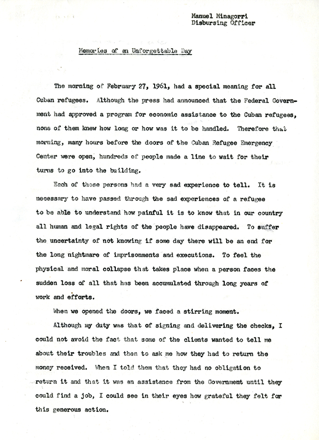 Manuel Minagorri to Grace H. Stewart, November 27, 1962
