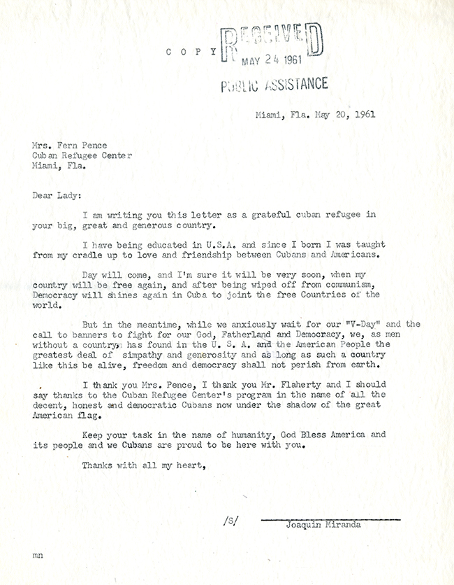 Joaquin Miranda to Fern H. Pence, May 20, 1961